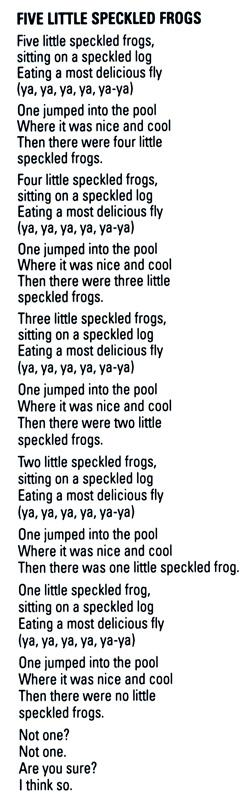 5 green speckled frogs song lyric