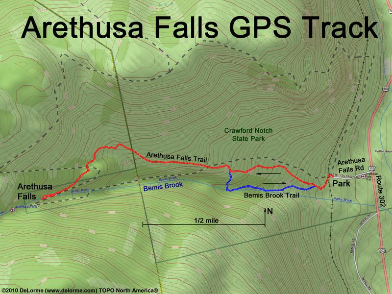 Gps track to arethusa falls in new hshire