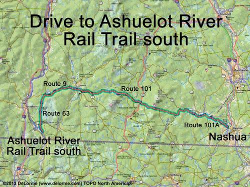 Drive to Ashuelot River Rail Trail south on interstate 95 map, nh highway map, route 2 map,