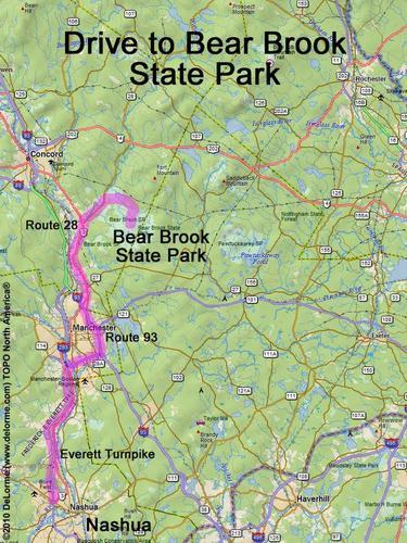 Drive to Bear Brook State Park on hiking map, bear brook trail race, dogtown gloucester ma bike trail map,