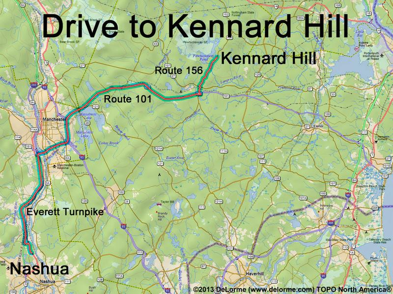 Drive to Kennard Hill on interstate 95 map, nh highway map, route 2 map,