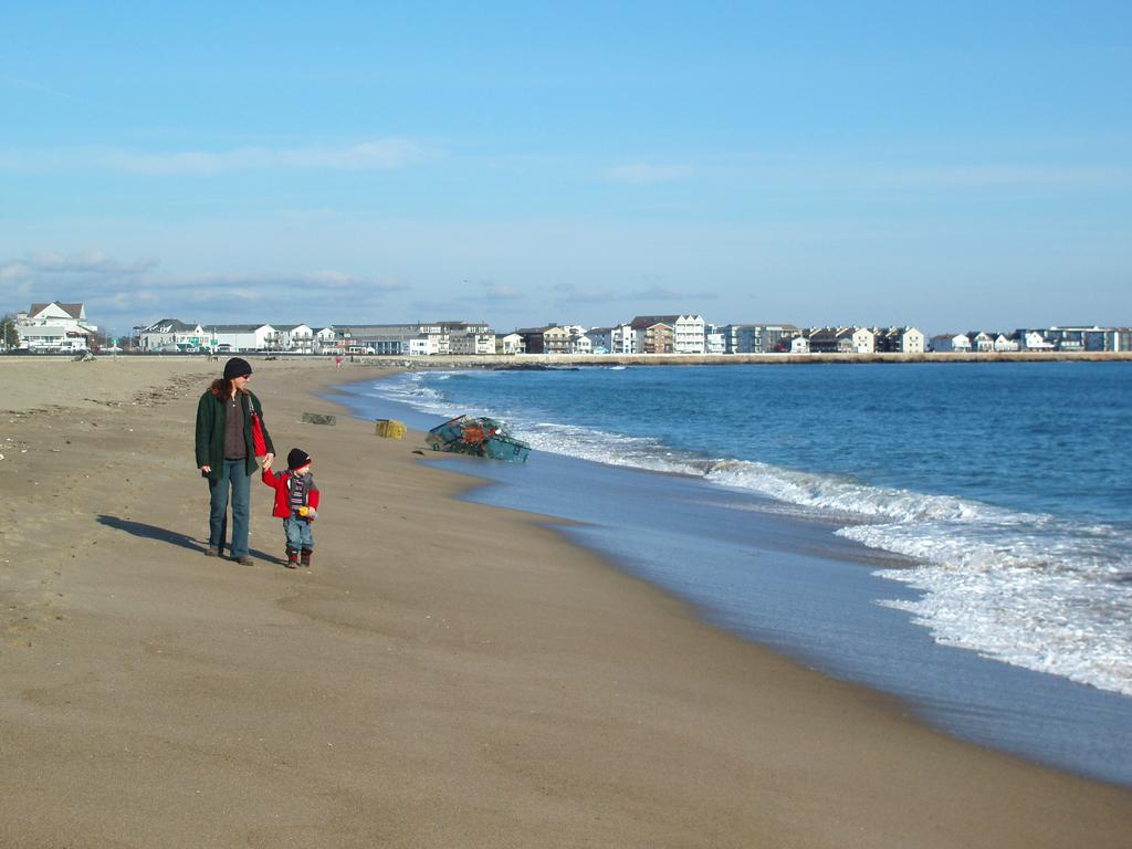 Off Season Visitors At Hampton Beach In