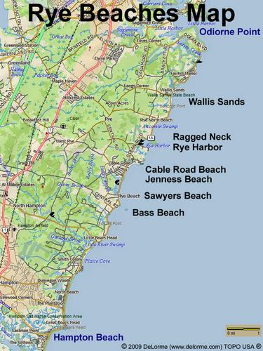 Map Of Ocean Beaches At Rye In New Hampshire